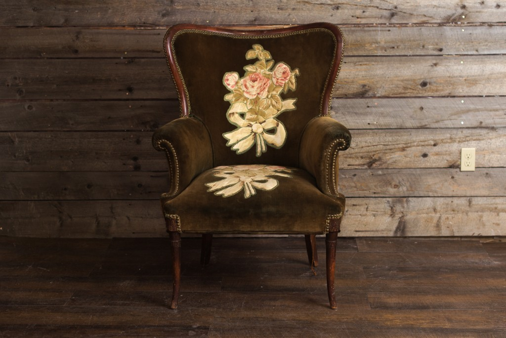 Green Flowered  Wing Chair
