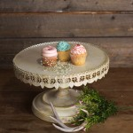 Ivory Cream Lace Cake Stand - Large